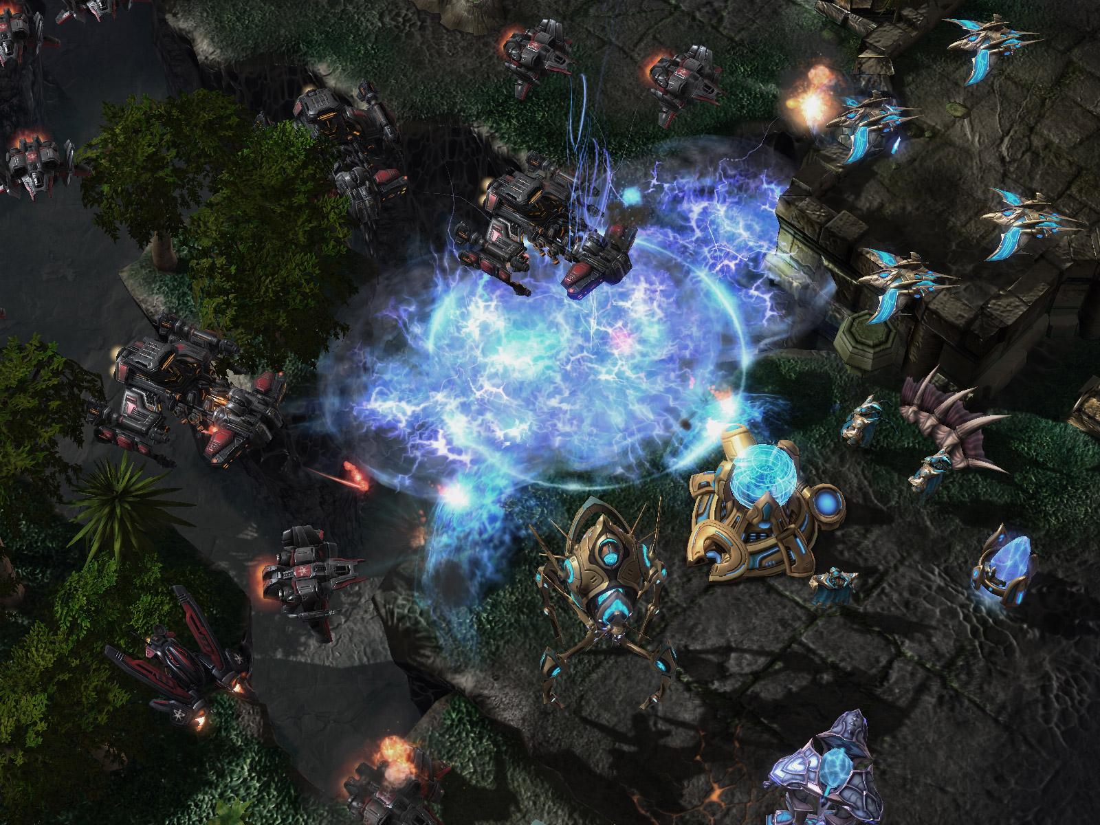 Screenshot de StarCraft II (Psi Storm).