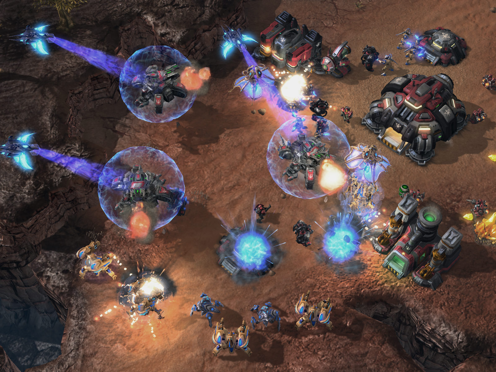 Screenshot de StarCraft II (PvT Phoenix).