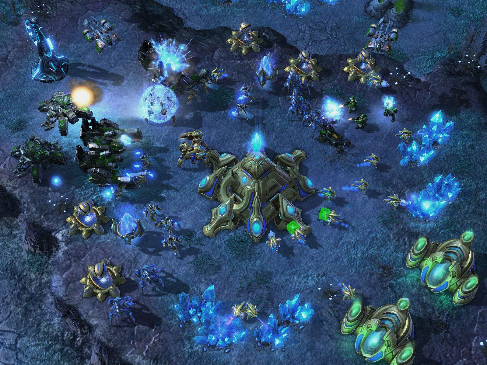 Screenshot de StarCraft II (TvP Shakuras).