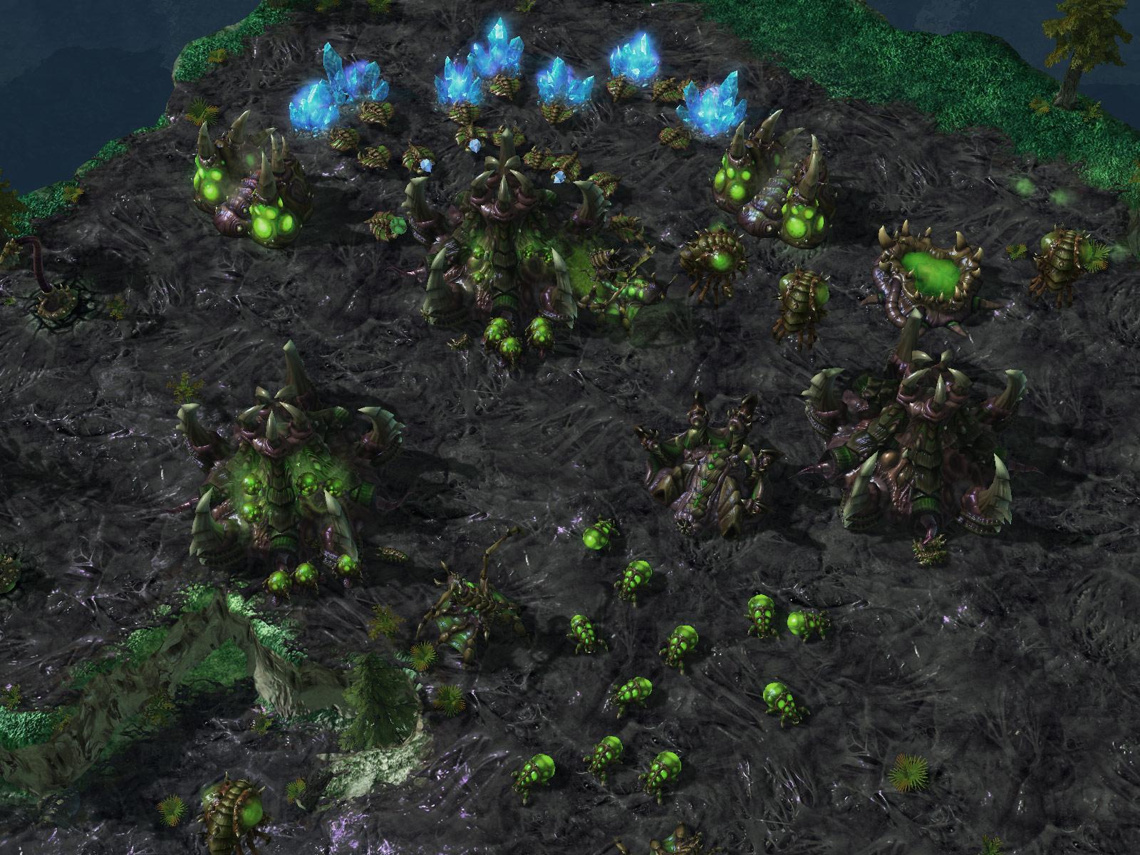 Screenshot de StarCraft II (Queen Zerg Eggs).